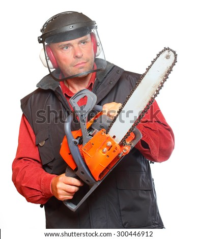The Lumberjack with chainsaw isolated on white background. - stock photo