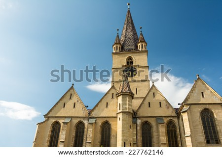 The Lutheran Cathedral of Saint Mary was built in 1530 and is the most famous Gothic-style church in Sibiu, Transylvania, Romania.
