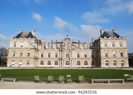 The Luxembourg Palace in beautiful garden, Paris, France