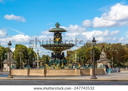 The Luxor Obelisk at the center of the Place de la Concorde in Paris - stock photo