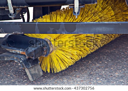 The machine for cleaning streets - stock photo