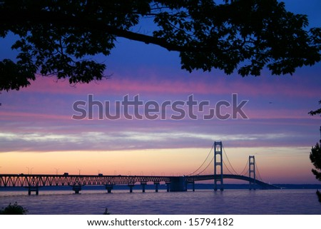 The Mackinaw Bridge connecting the Upper and Lower Peninsula's in Michigan. - stock photo