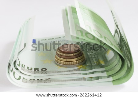 The macro european money in the bill and coins - stock photo