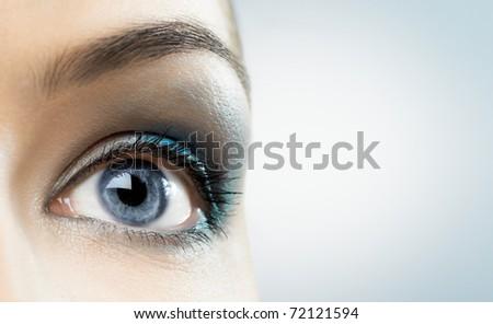 the macro image of the beauty eye - stock photo
