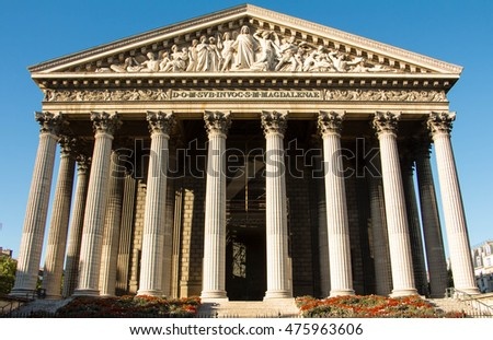 The Madeleine church is a Roman catholic church  in the 8th arrondissement of Paris. It was designed in its present form as a temple to the glory of Napoleon's army.