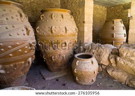 The magazines for food and wine for the minoan royal court at the palace of Knossos, island of Crete - stock photo