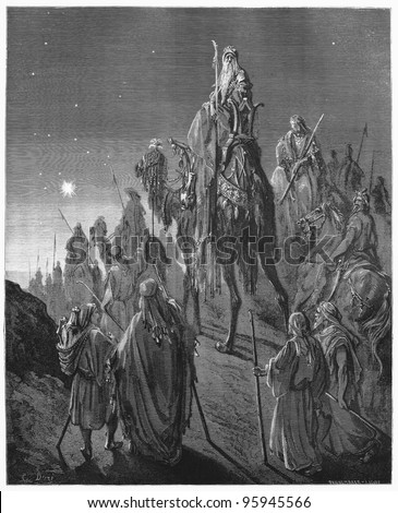 The Magi from the East - Picture from The Holy Scriptures, Old and New Testaments books collection published in 1885, Stuttgart-Germany. Drawings by Gustave Dore. - stock photo