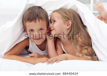 The magic of childhood when everything is new and must be shared - stock photo