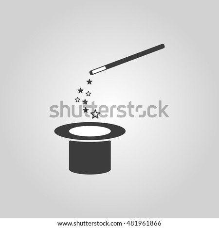 The magic wand and hat icon. Trick symbol. Flat  illustration