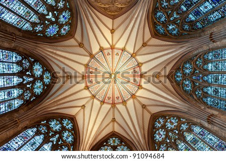 The magnificent Chapter House ceiling (completed 1186 AD) at York Minster - stock photo