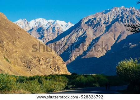 The magnificent view of Pamir mountains in Gorno Badakhsan province in Tajikistan. Central Asia.