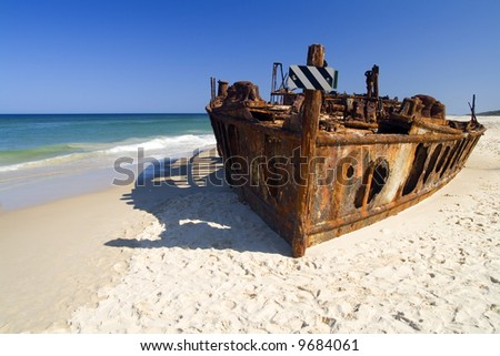 The Maheno shipwreck at the beach of Fraser Island - stock photo