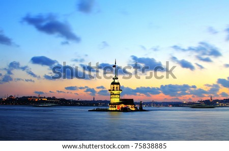 The Maiden's Tower in Istanbul-Turkey - stock photo