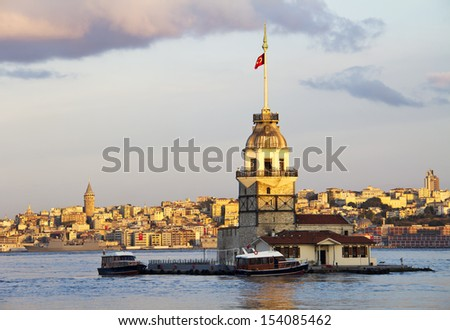 The Maiden's Tower in istanbul, Turkey, in early morning - stock photo