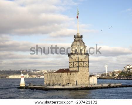 The Maiden's Tower (Kiz Kulesi) In Istanbul, Turkey - stock photo