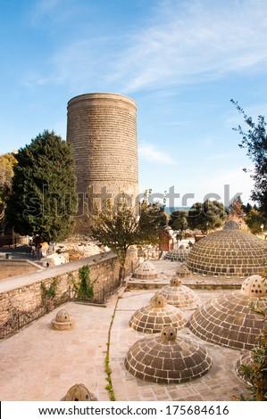 The Maiden Tower, Baku, Azerbaijan. known locally as Giz Galasi located in the Old City, Baku in Azerbaijan - stock photo