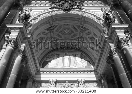 The main Berliner Dom cathedral gate, Berlin in black and white - stock photo