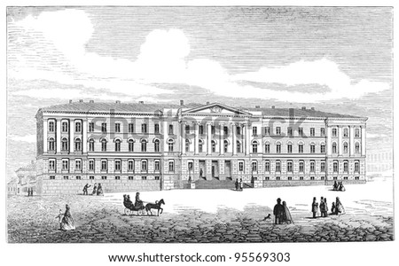 The main building of University of Helsinki, Finland. Engraving by unknown artist from Ny Illustrerad Tidning 1866. - stock photo