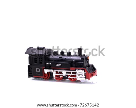 The main car from the children's railway, on a white background - stock photo