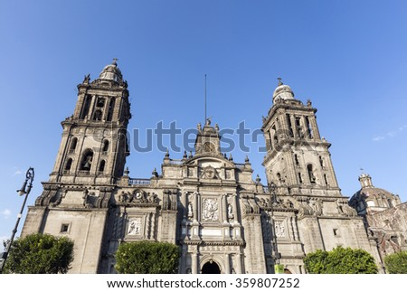 The main Cathedral in Mexico City - stock photo