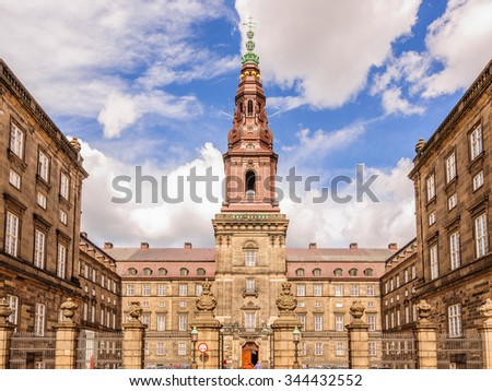 The main entrance to the Palace and the Central tower of the complex a Slot Palace in Copenhagen, Denmark - stock photo