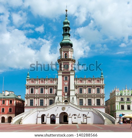 The main market square in the old town of Zamosc. It is on the UNESCO World Heritage List - stock photo