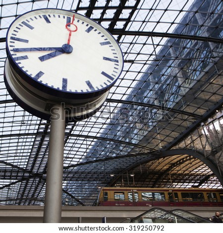 The main railway station (Hauptbahnhof) in town and the largest crossing station in Europe. Berlin, Germany - stock photo