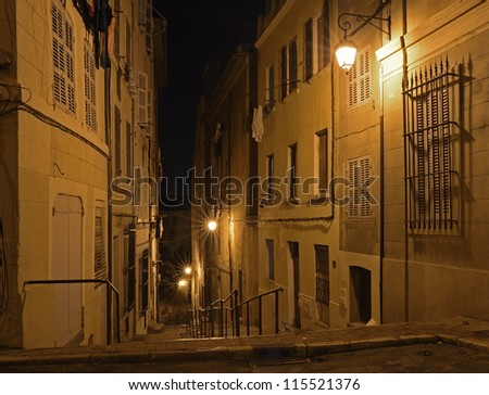 """The main stairway in the historic quarter """"Panier"""" of Marseille in South France at night - stock photo"""