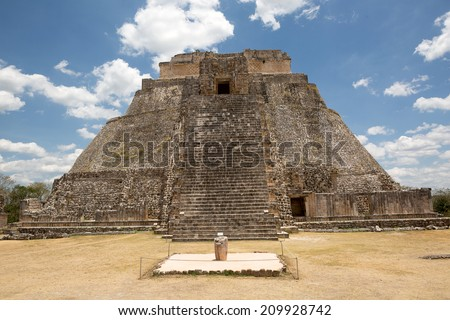 the main temple of the ancient city of Uxmal Mexico - stock photo