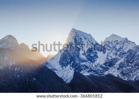The majestic Himalayas at first light of sunrise - stock photo