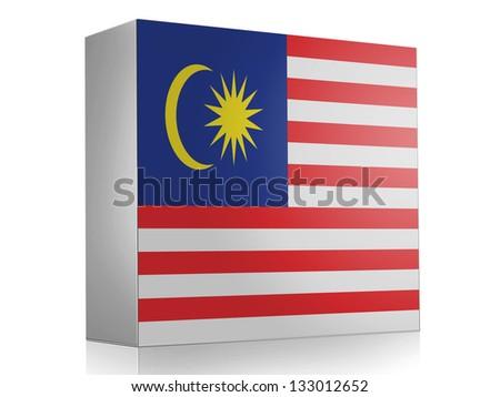 The Malaysia flag  on white box icon - stock photo