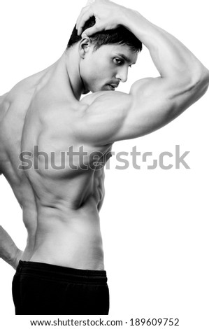 The male body isolated on white background.