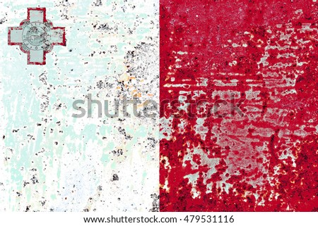 The Malta flag painted on grunge metal