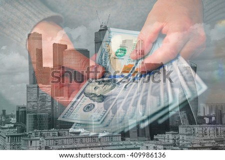 The man counts money in dollars on a background of a modern city. Double Exposure. - stock photo
