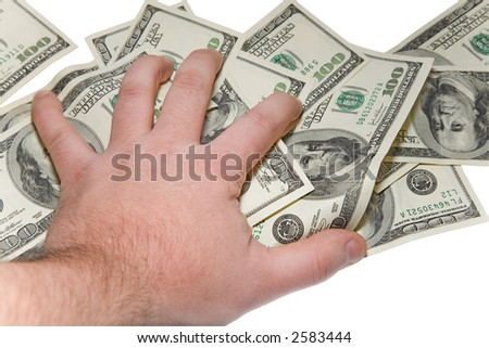 the man hand over some dollars banknotes with clipping path
