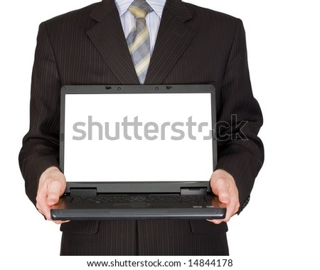 The man holds in hands laptop - stock photo