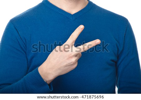 the man in blue shirt gesture with his hands on white background