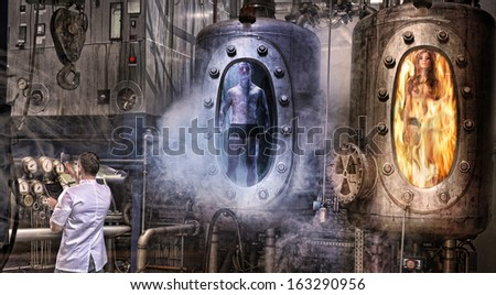 The man in the lab and two people in the tubes - stock photo