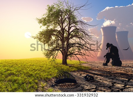 The man in the mask after the disaster - stock photo