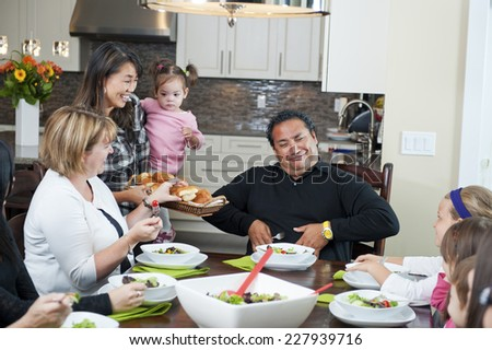 the man is saying / no thanks i'm on a diet / it is so funny - stock photo