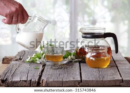 The man's hand holds a transparent jug with milk over a cup of tea