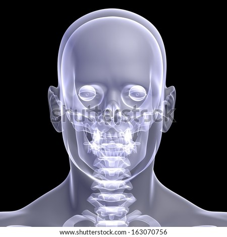 The man's head. X-ray render on a black background