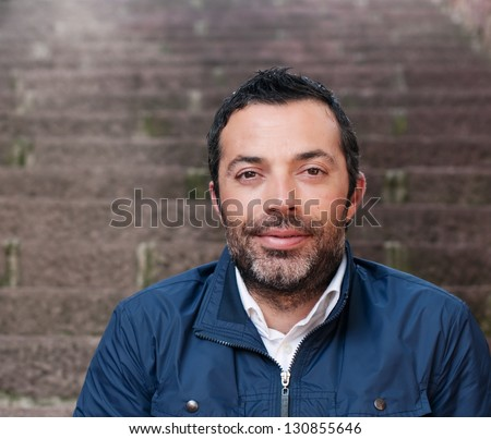 The man's portrait, outdoor image - stock photo