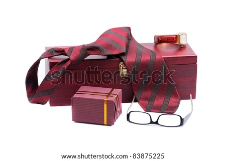 The man's set: tie, watch, eyewear, gift are isolated