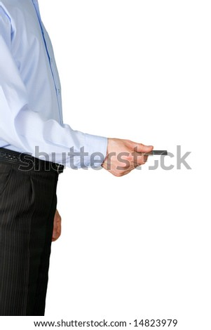 The man submits a credit card - stock photo