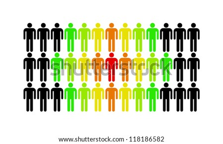 The man who stands out from the rest of the population - stock photo