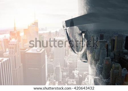 The man with sunglasses double exposure - stock photo