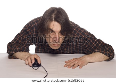 The man with the computer mouse - stock photo