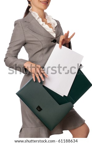 The managing director holds the white blank paper in the hand and smiles - stock photo