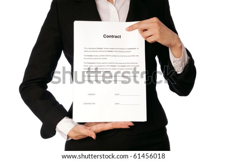 The managing director showing her partner a contract  for signing - stock photo